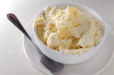 Ice Cream, Bowl, Spoon