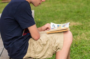 Boy, Reading, Comic Book, Graphic Novel
