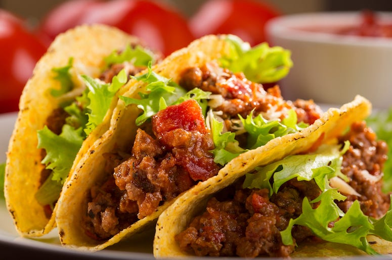 Tacos, Plate, Food