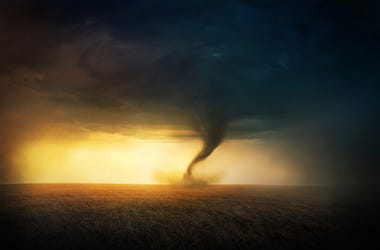 Tornado, Field, Sunset, Beautiful