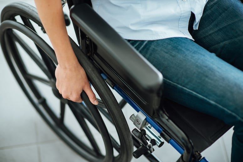 Wheelchair, Wheel, Female, Hand