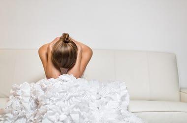 Depressed, Sad, Bride, Head Down