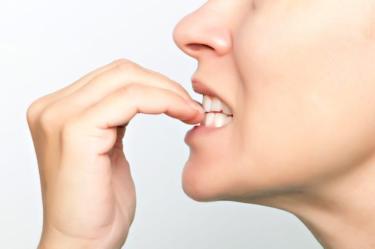 Woman, Biting, Nails