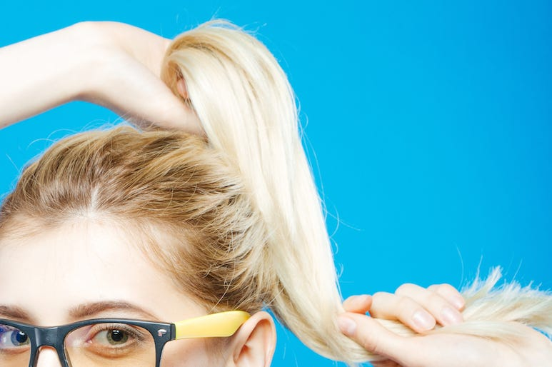 Blonde, Woman, Ponytail, Glasses