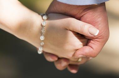 Bride, Groom, Holding Hands, Close