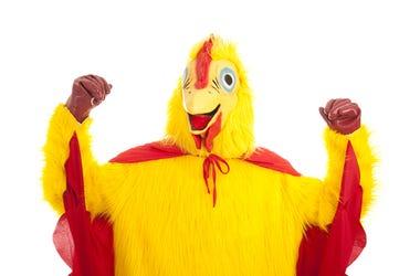 Man in a chicken suit