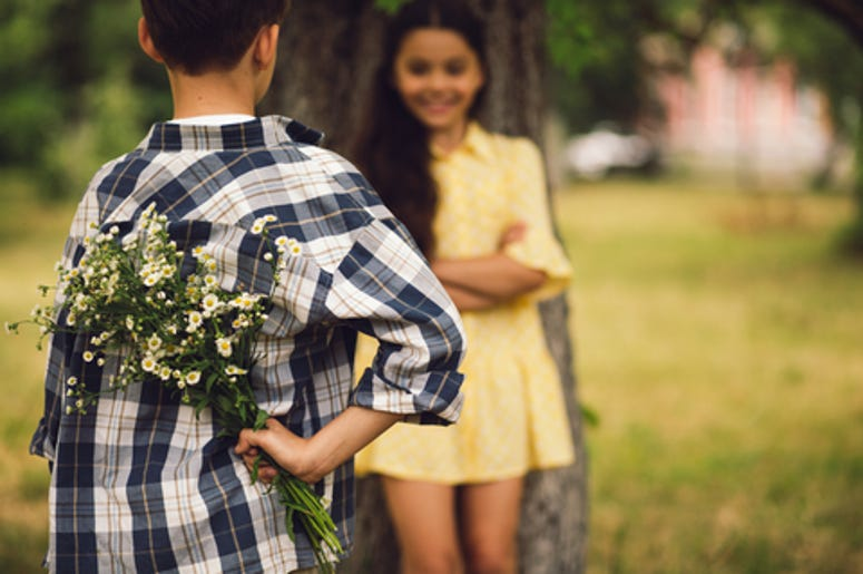 Boy Giving Girl A Flower