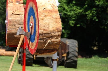 Axe on a painted target