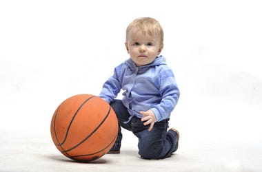 Toddler with a Basketball