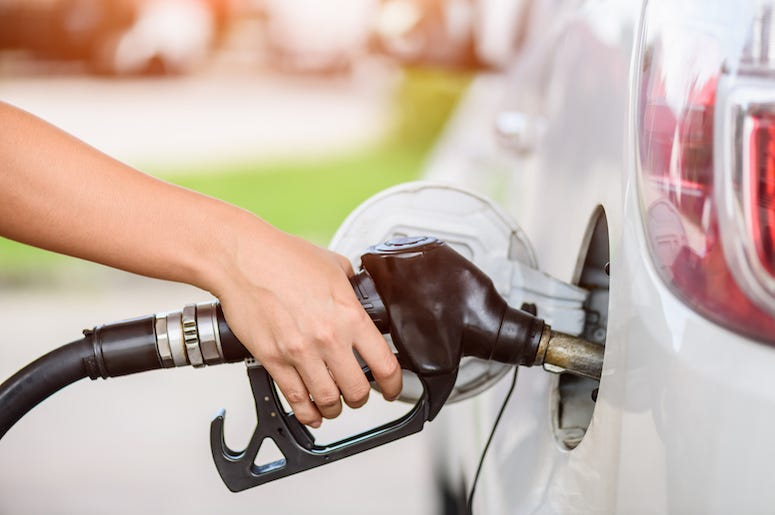 Woman, Car, Gas Station, Pumping Gas