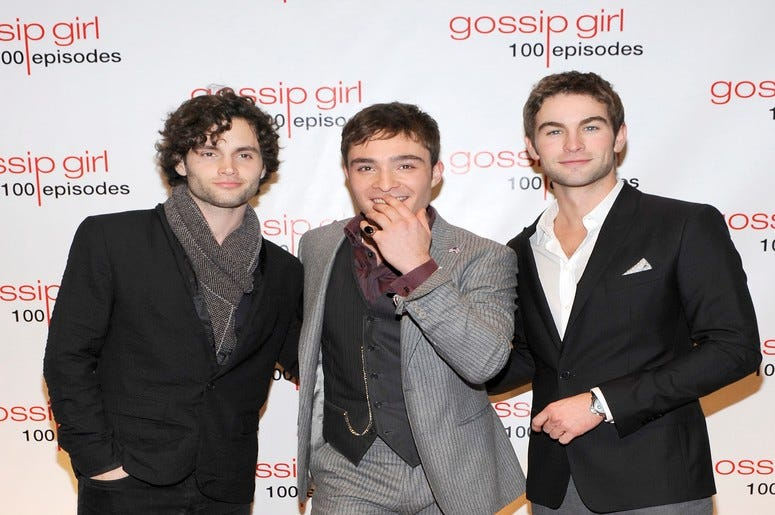 'Gossip Girl' (L-R) Penn Badgley, Ed Westwick and Chace Crawford