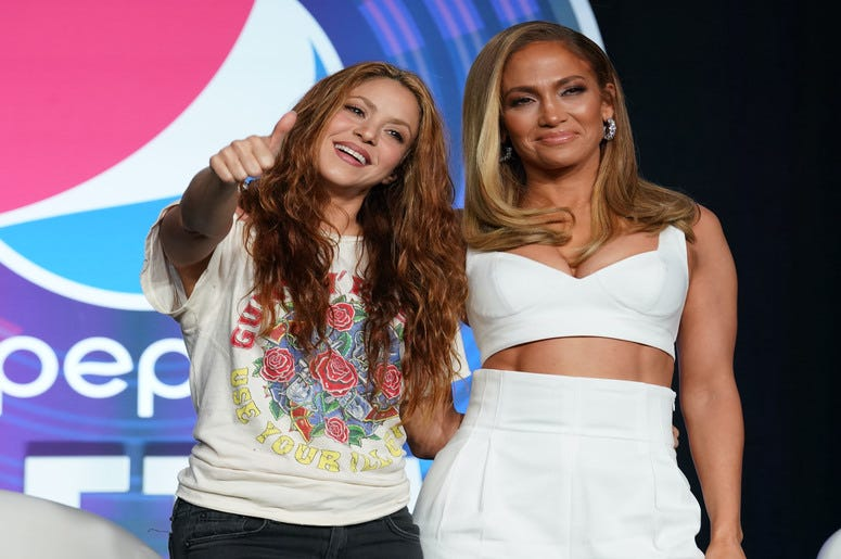 Shakira (left) and Jennifer Lopez (right) during the Super Bowl LIV halftime talent show press conference