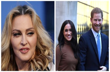 (Left) Madonna, Meghan markle and Prince Harry (Right)