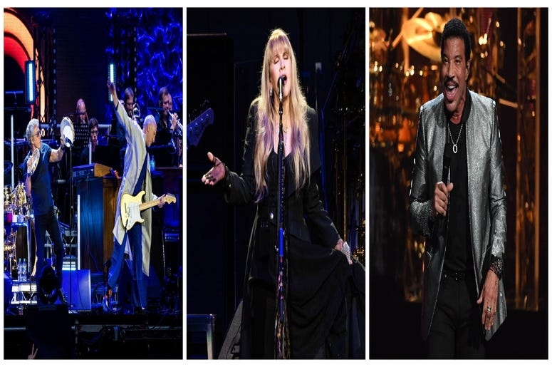 (Left) Roger Daltery and Pete Townshend of The Who, (Center)Stevie Nicks, Lionel Richie (Right)