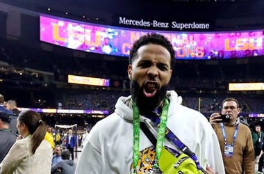 Cleveland Browns wide receiver Odell Beckham Jr. celebrates after the LSU Tigers beat the Clemson Tigers in the College Football Playoff national championship game at Mercedes-Benz Superdome.