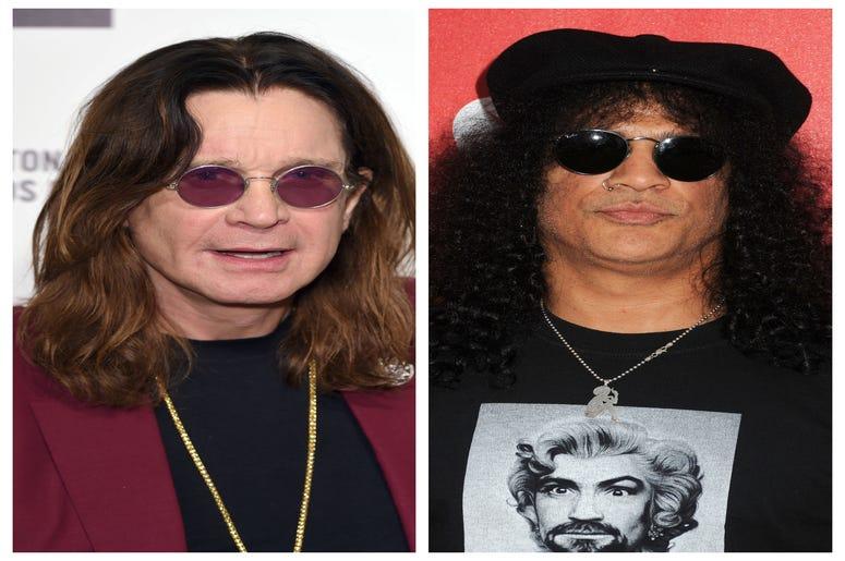 (Left) Ozzy Osbourne, (Right)Slash, Saul Hudson, Guns N' Roses