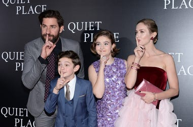 (L-R) Actors John Krasinski, Noah Jupe, and Millicent Simmonds and Emily Blunt