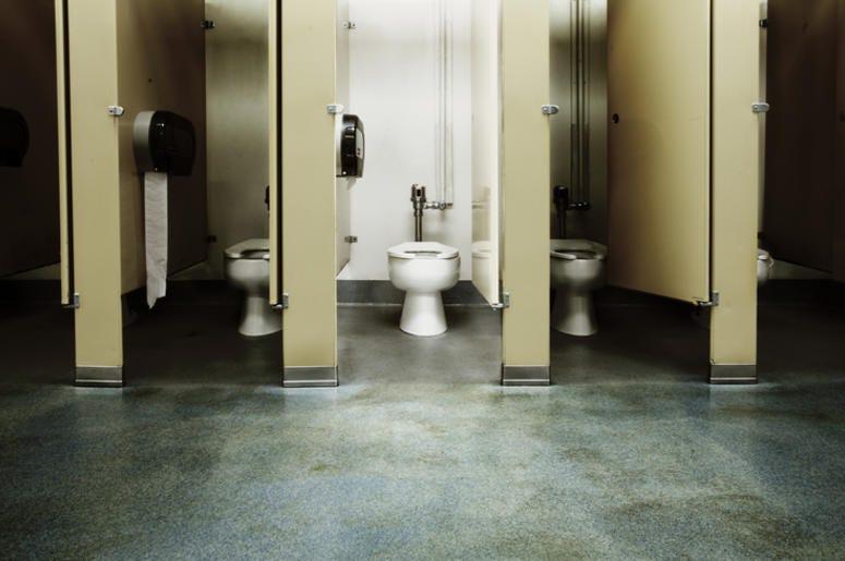 Kid Crawls Under Bathroom Stall