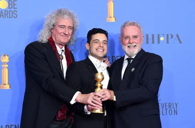 Rami Malek with Brian May and Roger Taylor of Queen