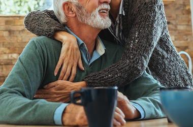 Husband, Wife, Older, Hugging, Cute, Smile, Kitchen