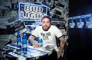 Post Malone with a Bud Light