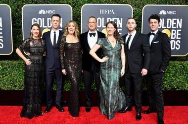 Samantha Bryant, Colin Hanks, Rita Wilson, Tom Hanks, Elizabeth Ann Hanks, Chet Hanks, and Truman Theodore Hanks