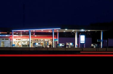 Gas Station, Pumps, Night, Neon Lights, Service Station