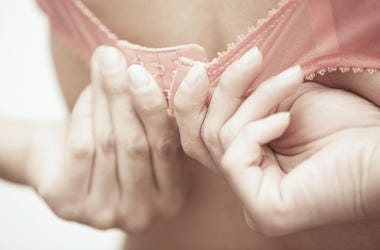 Woman, Brassiere, Bra, Hands, Clasping