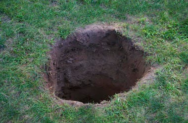 Deep Hole, Dirt, Mud, Lawn, Grass, Yard