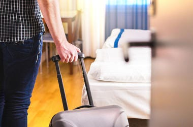 Man, Suitcase, Hotel Room, Bed