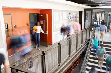 High School, Corridor, Stairs, Teachers, Students, Blurry