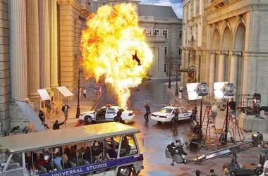 Universal Studios, Tour, Bus, Movie Set, Fire, Fireball, Explosion