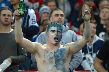 Dallas Cowboys, Fan, Shirtless, Face Paint, Body Paint, Beer, Cheering