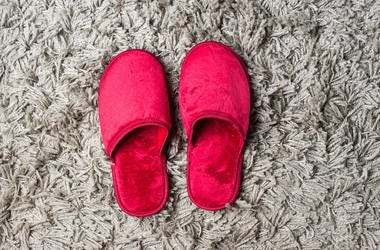 Red House Slippers, Grey Carpet