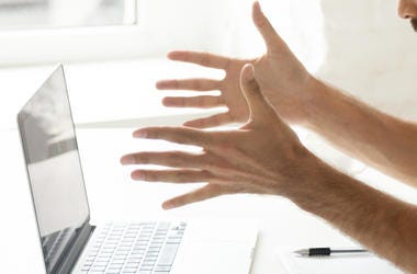 Man, Frustrated, Angry, Laptop, Computer, Hands