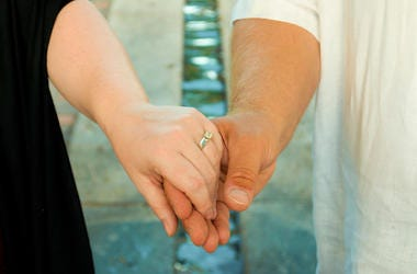 Married, Couple, Holding Hands, Wedding Ring