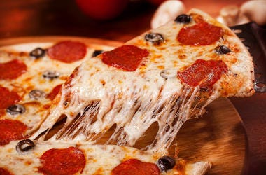 Pizza, Slice, Gooey Cheese, Pepperoni, Olives