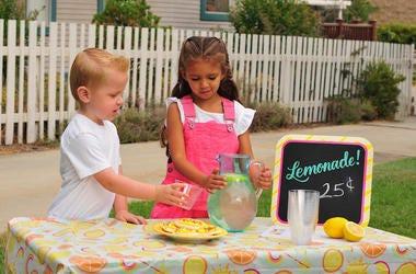 Lemonade Stand, Kids, Sidewalk