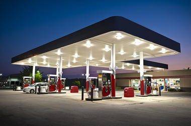 Gas Station, Pumps, Night