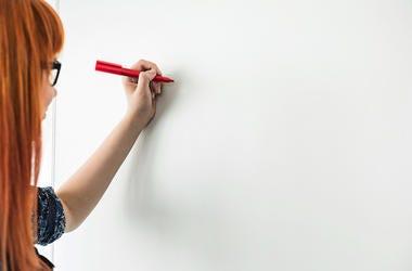 Woman, Marker, Dry-Erase Board, Whiteboard