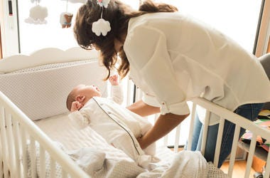 Mother, Baby, Sleeping, Putting To Sleep, Crib