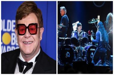 (Left) Elton John, band Metallica (Right)