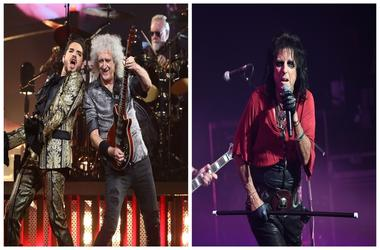 (Left) Adam Lambert, Brian May and Roger Taylor of Queen, Alice Cooper (Right)