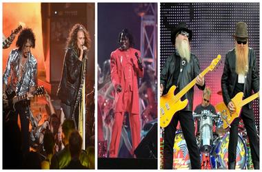 (Left) Joe Perry and Steven Tyler from Aerosmith, James Brown (Center),ZZ Top (Right)