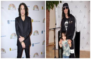 (Left)  Paul Stanley, Criss Angel and son (Right)