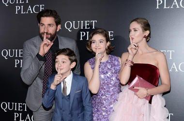 (L-R) Actors John Krasinski, Noah Jupe, and Millicent Simmonds and Emily Blunt