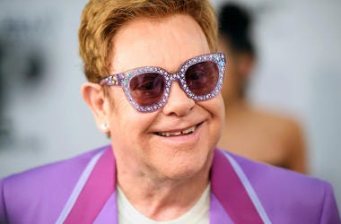 Elton John, Red Carpet, Smile, Purple,  Elton John Aids Foundation Midsummer Party, 2019