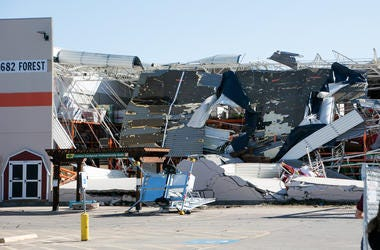 Destroyed store after a tornado in the Dallas region of Texas