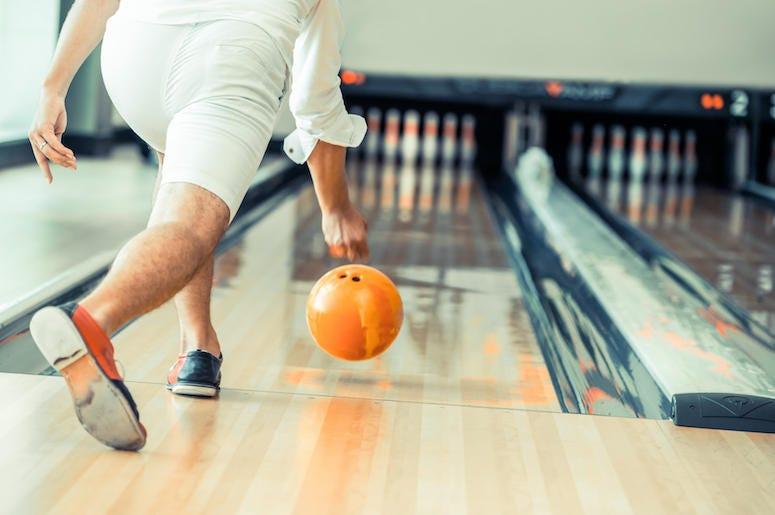 Man, Bowling, Lane, Rolling, Orange Ball