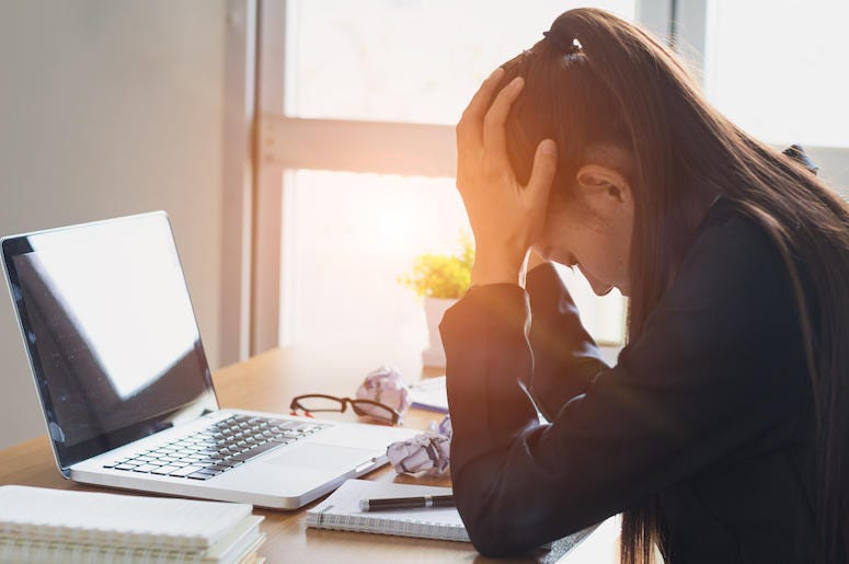 Woman, Office, Desk, Computer, Job, Stress, Sunset, Long Hours